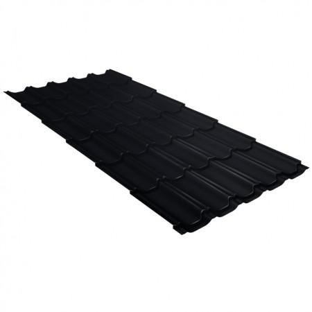 Металлочерепица Квинта плюс 0,5 PurPro Matt RAL 9005 Черный темный - фото #1
