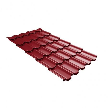 Металлочерепица GL Квинта Плюс c 3D резом 0,45 Polyester RAL 3003 Рубиново-красный - фото #1