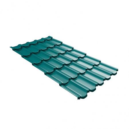Металлочерепица GL Квинта Плюс c 3D резом 0,45 Polyester RAL 5021 Синяя вода - фото #1