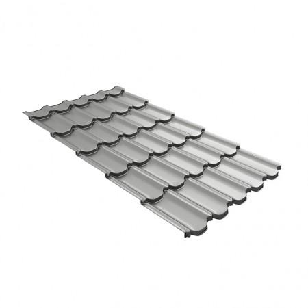 Металлочерепица GL Квинта Плюс c 3D резом 0,45 Polyester RAL 9006 Белый алюминий - фото #1