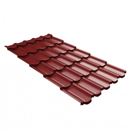 Металлочерепица GL Квинта Плюс c 3D резом 0,45 Polyester RAL 3011 Коричнево-красный - фото #1