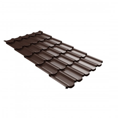 Металлочерепица GL Квинта Плюс c 3D резом 0,45 Drap RAL 8017 Шоколад - фото #1