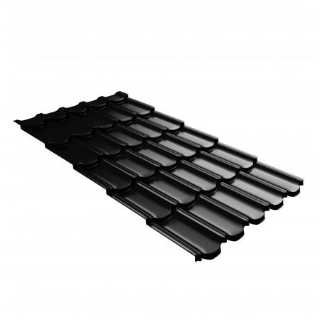 Металлочерепица GL Квинта Плюс c 3D резом 0,45 Drap RAL 9005 Черный темный - фото #1