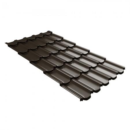 Металлочерепица GL Квинта Плюс c 3D резом 0,5 Satin RR32 Темно-коричневый - фото #1