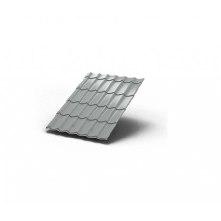 Металлочерепица МП Макси ПЭ 0,45 9006 Полиэстер - фото
