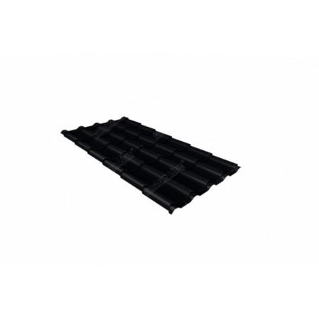 Металлочерепица Камея 0,5 Стальной бархат RAL 9005 Черный - фото