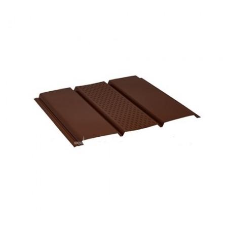 Софит стальной с центральной перфорацией Pural коричневый RAL8017 - фото #1