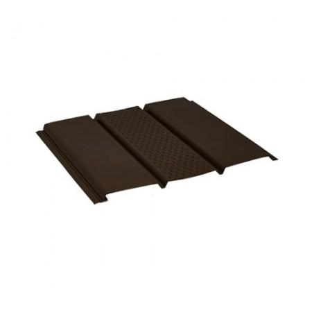 Софит стальной с центральной перфорацией Pural matt Темно-коричневый RR32 - фото #1