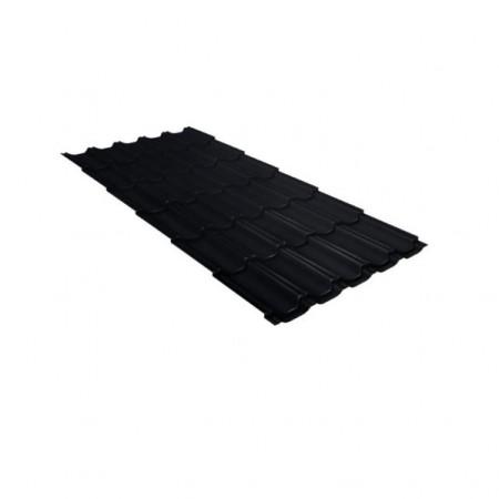 Металлочерепица Квинта плюс 0,5 Стальной бархат RAL 9005 Черный - фото