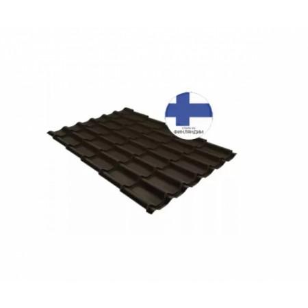 Металлочерепица Квинта плюс 0,5 GreenCoat Pural Matt RR 32 Темно-коричневый RAL 8019 Серо-коричневый - фото #1
