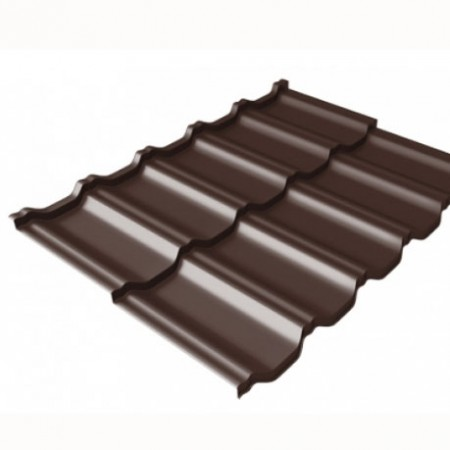 Металлочерепица Kvinta Uno 0,5 Стальной Бархат RAL 8017 Шоколад - фото #1
