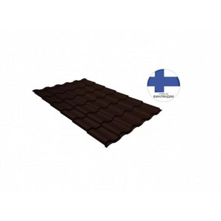 Металлочерепица Кредо GL 0,5 GreenСoat Pural RR 887 Шоколадно-коричневый RAL 8017 - фото #1