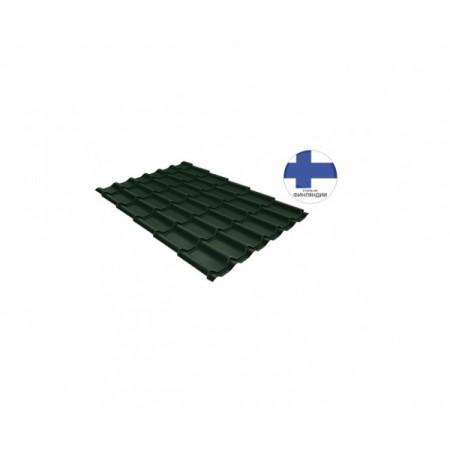 Металлочерепица Классик 0,5 GreenCoat Pural Matt RR 11 Темно-зеленый RAL 6020 Хромовая зелень - фото