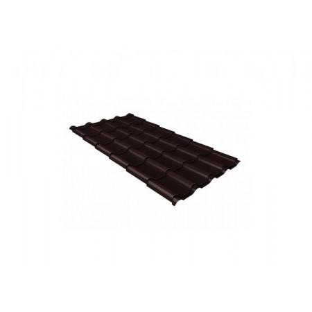 Металлочерепица Камея 0,5 Стальной бархат RAL 8017 Шоколад - фото