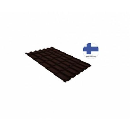 Металлочерепица Классик 0,5 GreenCoat Pural RR 887 Шоколадно-коричневый RAL 8017 Шоколад - фото #1